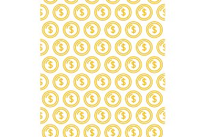 Coins Seamless Pattern Background