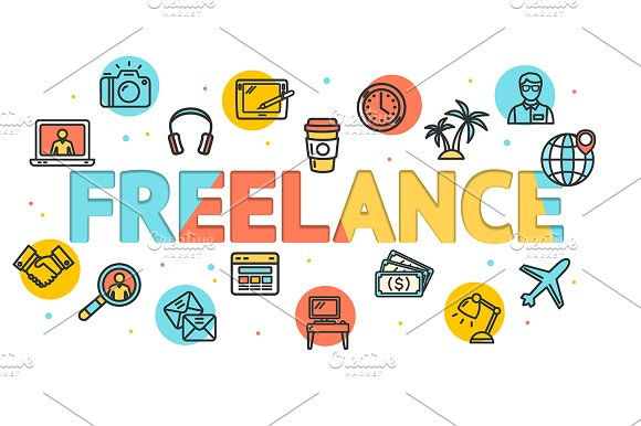 Cartoon Freelance Concept Card