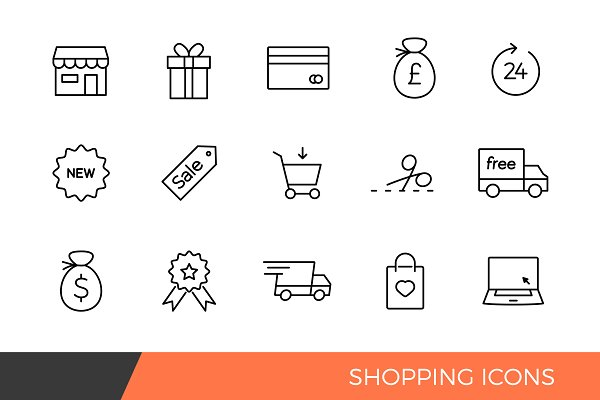 Linear Shopping e-commerce Icons