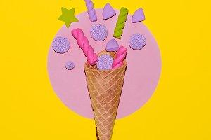 Marshmallow ice cream. Candy minimal