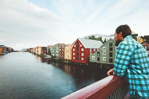 Man sightseeing Trondheim city