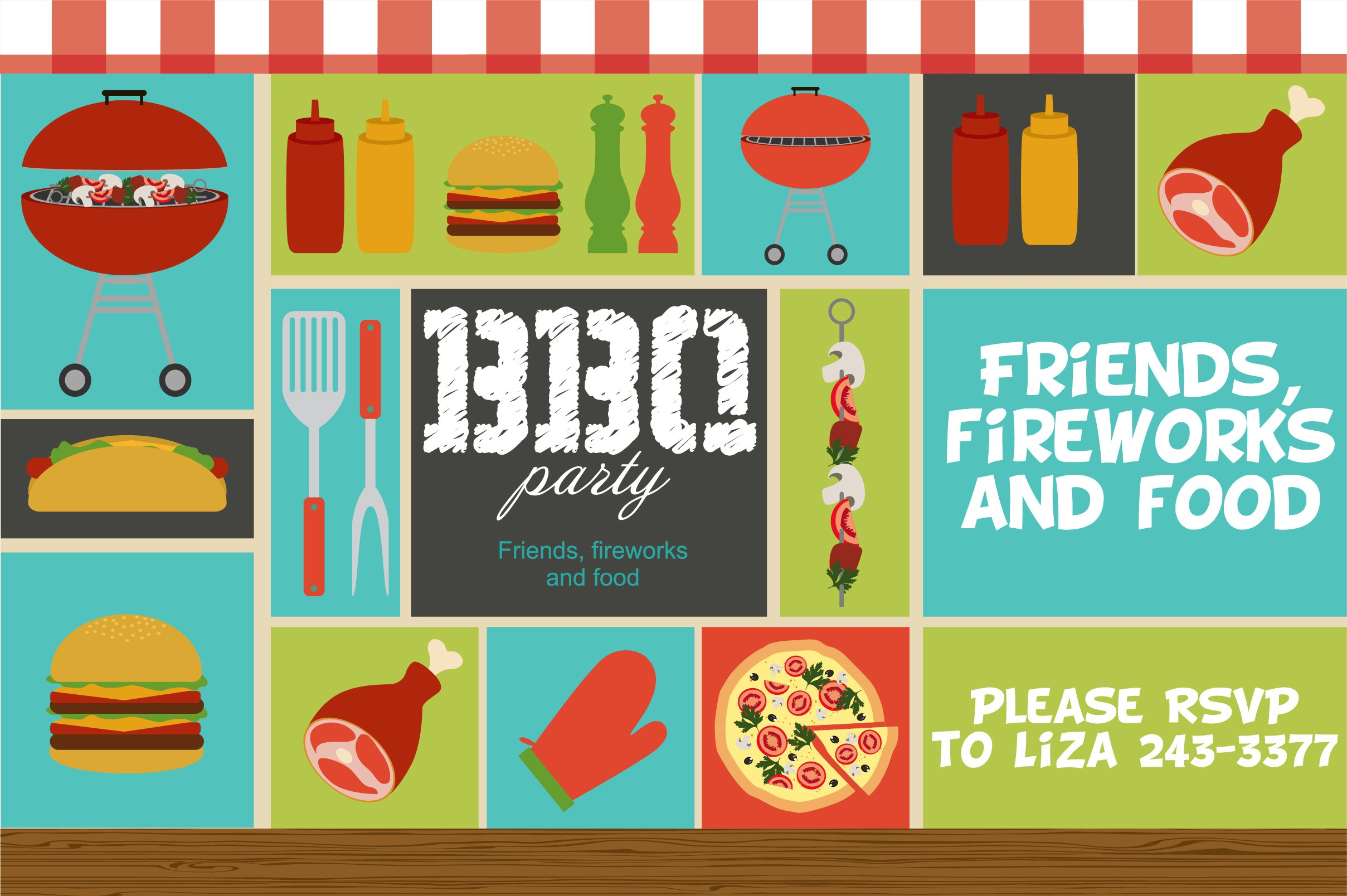 Bbq Party Invitation Illustrations Creative Market