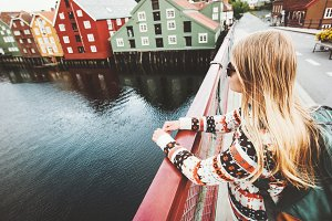 Young woman sightseeing Trondheim