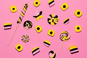 Sweet candy fashion background.