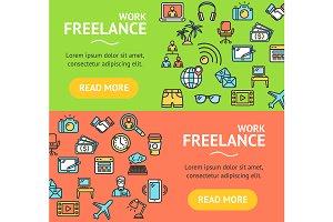 Freelance Banner Set. Vector