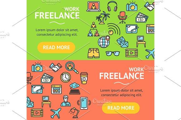 Freelance Banner Set Vector