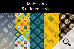 600+ business icons. 5 styles