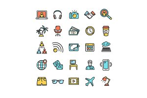Freelance Thin Line Icon Set. Vector