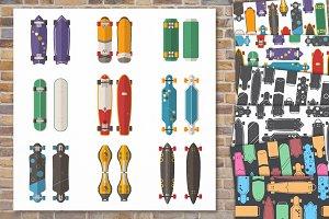 Retro Skateboard Patterns and Desks