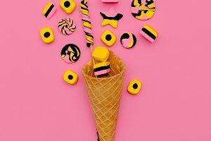 Candy Ice Cream. Sweet Fashion art.