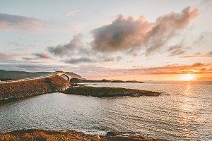Atlantic road in Norway sunset