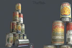 10 old Tin Can with Food