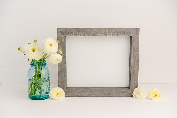 Ranunculus With Gray Frame Mock Up