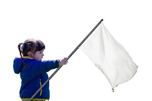 white flag held by little girl