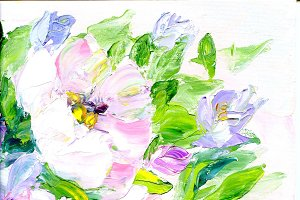 Hand painted modern style pink and purple flowers