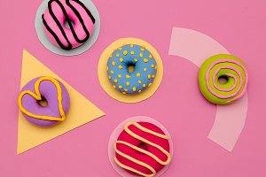 Donuts and Candy Lover Set.  Flat la