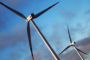 Two wind energy turbines