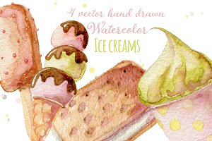 4 Watercolor ice creams, vectorized.