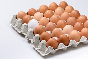 cardboard egg Cup of brown eggs with