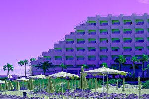 Canary Islands. Hotel and palm trees