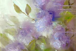 Lilac flowers ander rain. Spring flowers