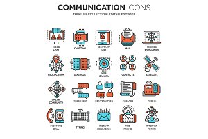 Communication. Social media. Online chatting. Phone call, app messenger. Mobile,smartphone. Computing.Email. Thin line blue web icon set. Outline icons collection. Vector illustration.