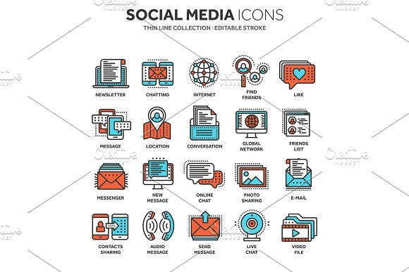 Communication Social Media Online Chatting Phone Call App Messenger Mobile Smartphone Computing.Email Thin Line Blue Web Icon Set Outline Icons Collection Vector Illustration