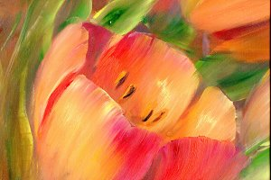 Vintage red tulips Oil painting.