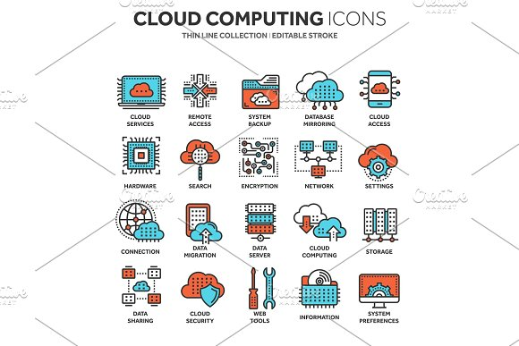 Cloud Computing Internet Technology Online Services Data Information Security Connection Thin Line Blue Web Icon Set Outline Icons Collection.Vector Illustration