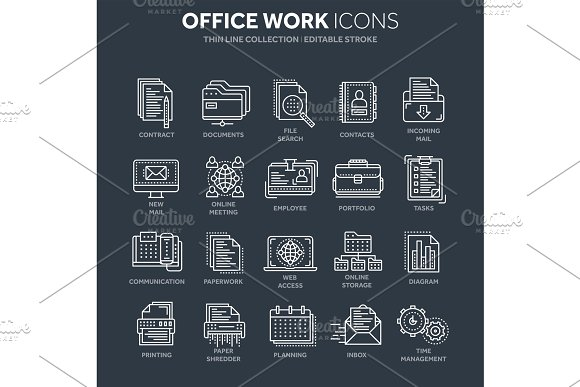 Business And Office Work Documents Paperwork Businessman Thin Line White Web Icon Set Outline Icons Collection Vector Illustration