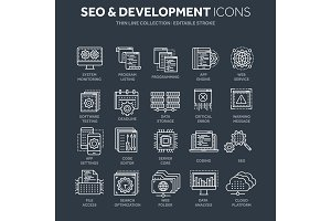 Seo and app development. Search engine optimization. Internet, e-commerce.Thin line white web icon set. Outline icons collection. Vector illustration.
