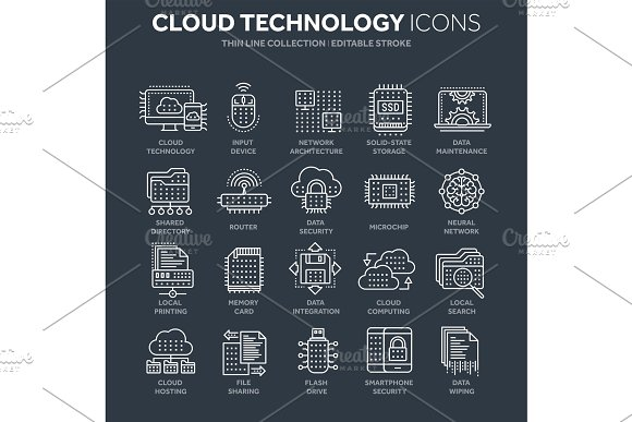 Cloud Computing Internet Technology Online Services Data Information Security Connection Thin Line White Web Icon Set Outline Icons Collection.Vector Illustration