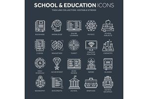 School education, university. Study, learning process. Oline lessons, tutorial. Student knowledge. History book.Thin line white web icon set. Outline icons collection.Vector illustration.