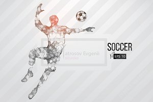 Silhouette of a soccer player. Set