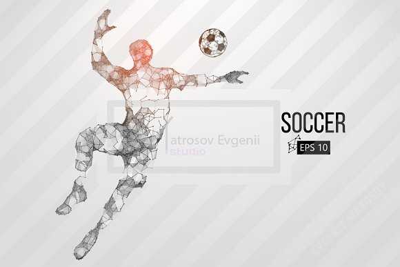 Silhouette Of A Soccer Player Set