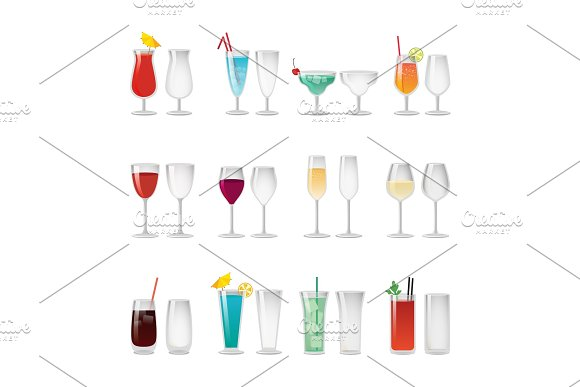 Glasses With Wine And Cocktails Illustrations Set