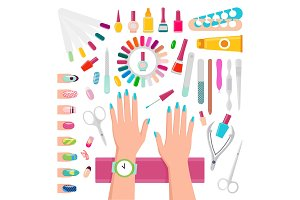 Nail Polishes and Instruments for Manicure Set
