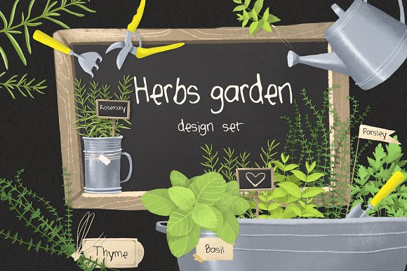 Herbs Garden Design Set
