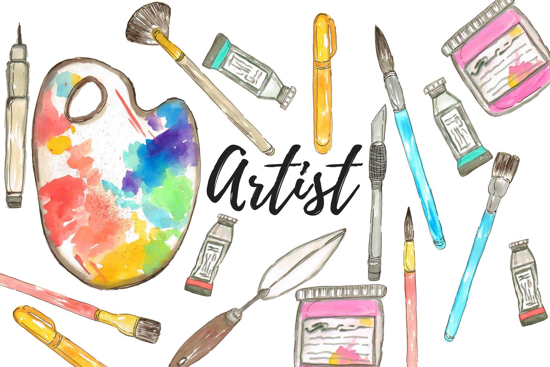 Watercolor Artist Clipart   Pre-Designed Photoshop Graphics ~ Creative Market