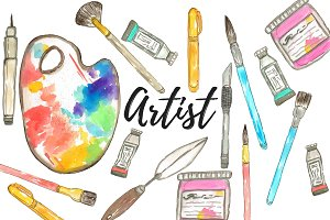 Watercolor Artist Clipart