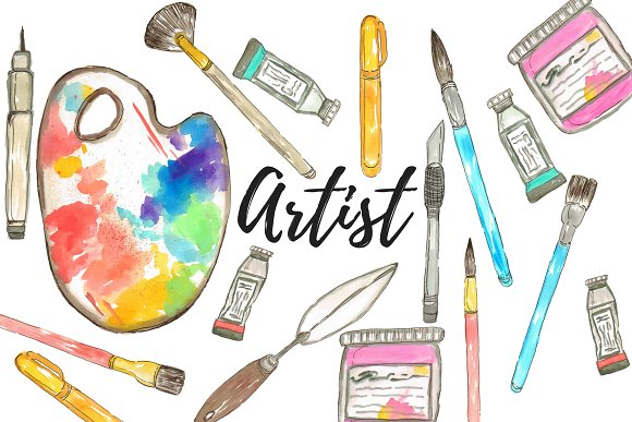 Watercolor Artist Clipart