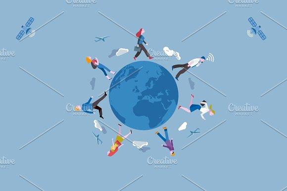 Working People And Earth Globe