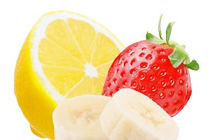 Lemon strawberry and sliced banana