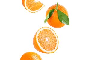 Isolated falling orange fruit
