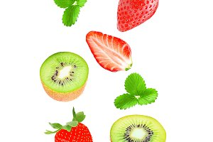 Fresh falling kiwi and strawberry
