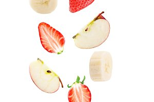 Falling apple strawberry and banana
