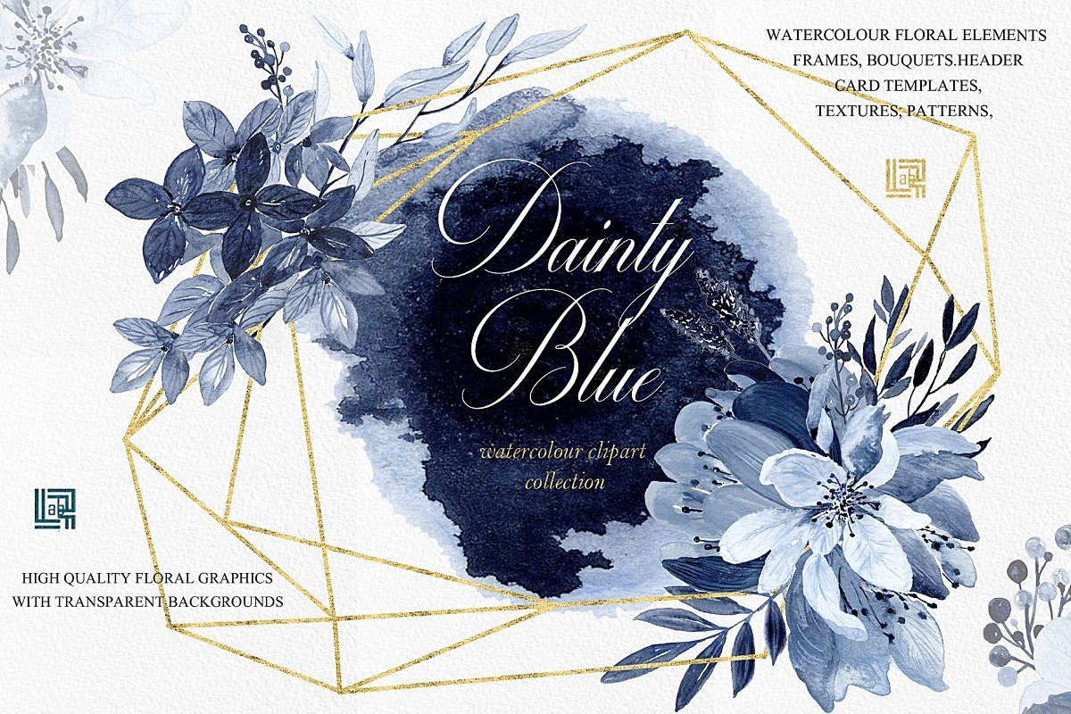 Dainty Blue Navy Blue Flowers Custom Designed Illustrations