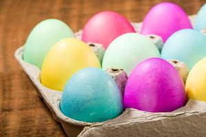 Carton of dyed Easter eggs