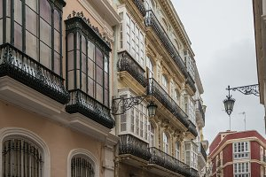 Ornate balconies in Cadiz, Southern Spain