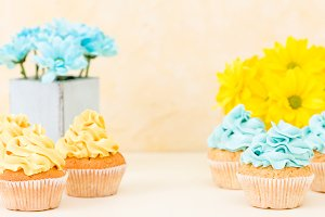 Yellow and blue cupcakes